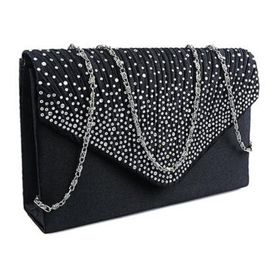 Sequined Applique Zipper Closure Bridal/Wedding/ Evening Party Clutch Purse