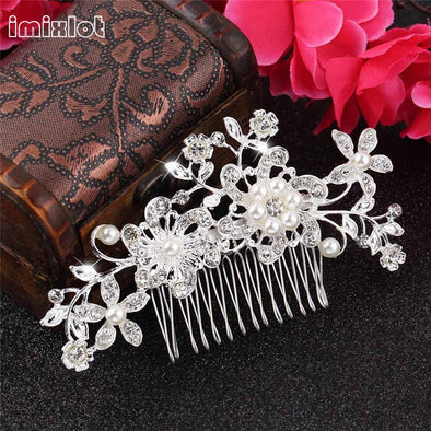 Plant Pattern Rhinestone Hair Comb Trendy Wedding Bridal Hair Pins/Clips