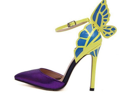 Ankle Strap Pointed Toe Butterfly High Heels Shoe-Purple - Veilsandweddingaccessories
