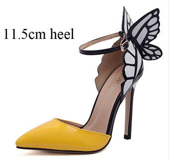 Ankle Strap Pointed Toe Butterfly High Heels Shoe-Yellow - Veilsandweddingaccessories