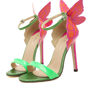 Ankle Strap Pointed Toe Butterfly High Heels Sandals -Green - Veilsandweddingaccessories