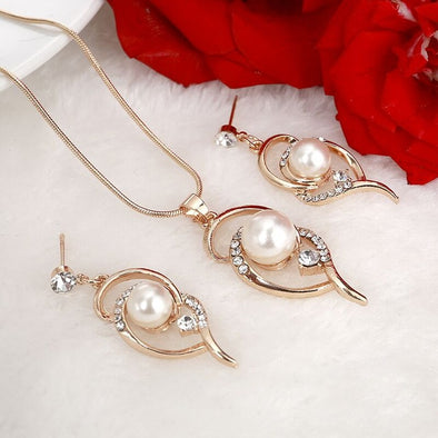 Elegant Leaf Crystal Simulated Pearl Bridal Jewelry Sets