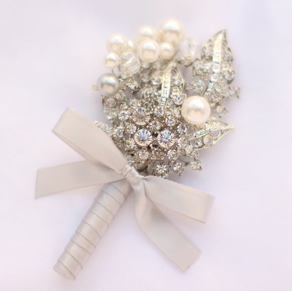 Groom brooch corsages, Men Corsage, gold Ivory silver  boutineer contracted style best man parents rhinestone pearl accessories