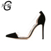 Slip-on  High Heels Pointed Toe Bridal Shoes Fits True to Size-Black Flock