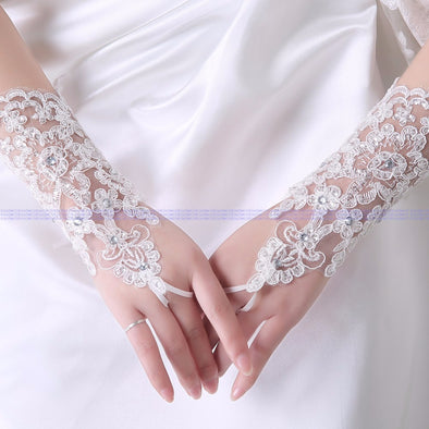 white Lace beading Bride Wedding Gloves