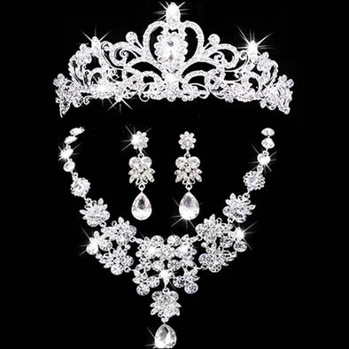 Charm Sparkling Silver Bridal Tiara Headband Necklace and Earring Set