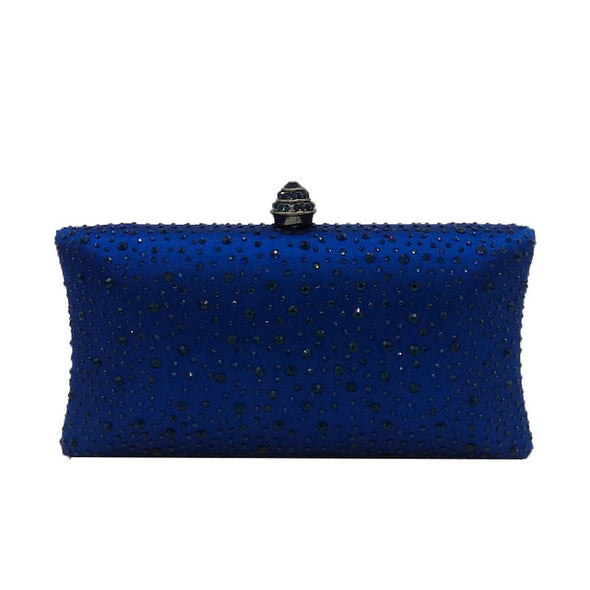 Sparkling Satin Single Strap Bridal/Wedding/ Evening Party Clutch Purse-Blue