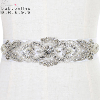 Handmade Beaded Crystals Wedding Belt with Stones