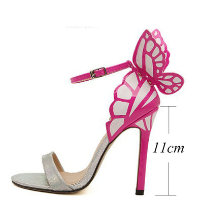 Ankle Strap : Pointed Toe Butterfly High Heels Sandals Shoe-Silver - Veilsandweddingaccessories