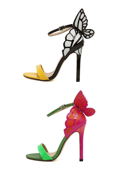 Ankle Strap Pointed Toe Butterfly High Heels Sandals -Yellow - Veilsandweddingaccessories