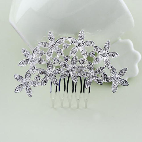 Floral Design Pearl Crystal Hair Comb Trendy Wedding Bridal Hair Pins/Clips
