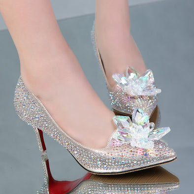 Luxury Rhinestone High Heels Pointed toe Crystal Wedding Shoes heel 43-34