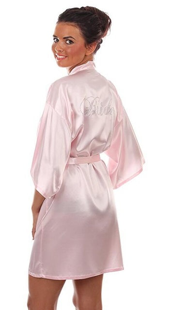Satin Faux Silk Stylish Above Knee Quality Bride and Bridesmaid Crested Robes