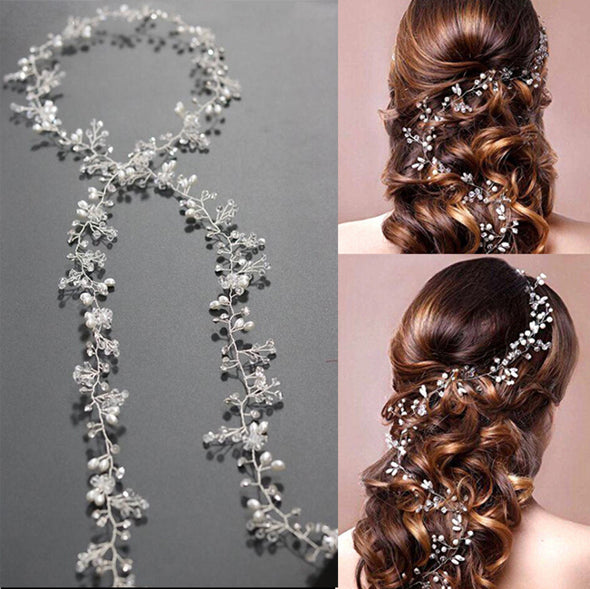 Luxury Leaf Headband Pearl Crystal Long Bridal Tiara Hairbands Crown