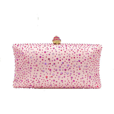 Sparkling Satin Single Strap Bridal/Wedding/ Evening Party Clutch Purse-Pink