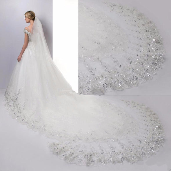 4Meters Long White Ivory Lace Edge One Layer Bridal Wedding Cayhedral Veils - Veilsandweddingaccessories
