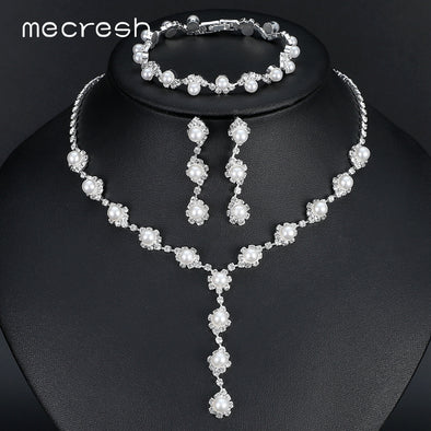 Mecresh Simulated Pearl Bride Wedding Jewelry Sets