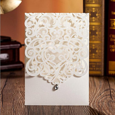 10pcs wedding invitations engagement invitation cards love heart luxury gift for guests