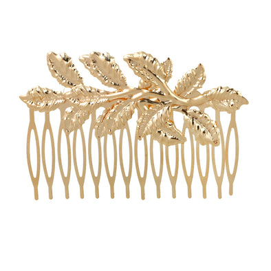 Trendy Tiara Gold Leave Acrylic Bridal Hair Comb