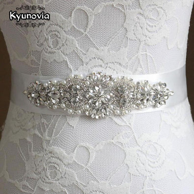 12Color Crystal and Pearl Sash Bridal Wedding Belt