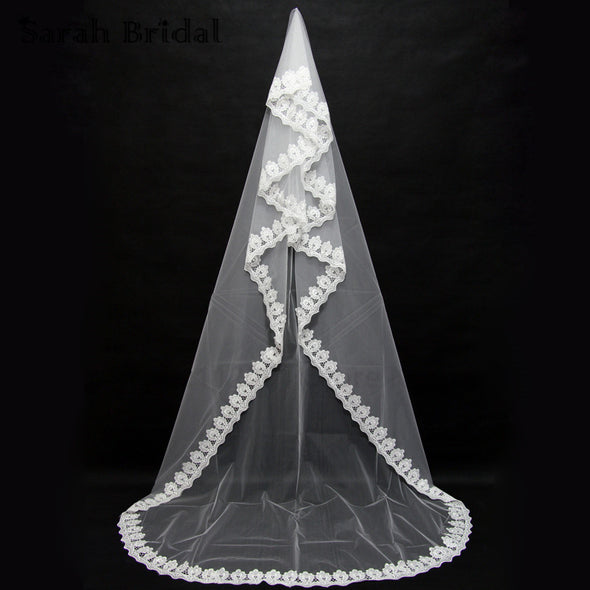 3M Long White Ivory Lace Edge One Layer Bridal Wedding Chapel  Veils - Veilsandweddingaccessories