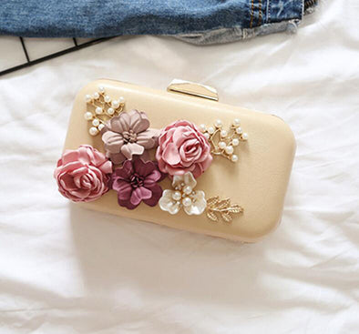 Sequined Rivet Zip Closure Floral Bridal/Wedding/ Evening Party Clutch Purse