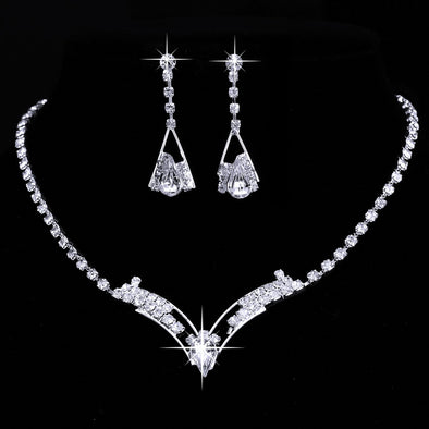 Charm Sparkling V Shaped Rhinestone Crystal  Bridal Jewelry Set