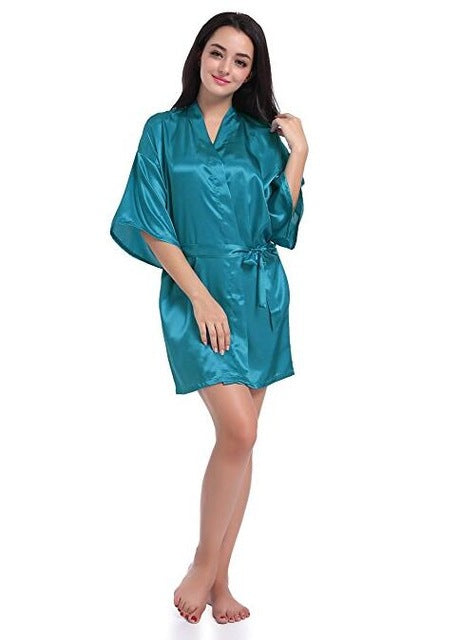 Stylish Satin Above Knee Quality Bride and Bridesmaid Robes