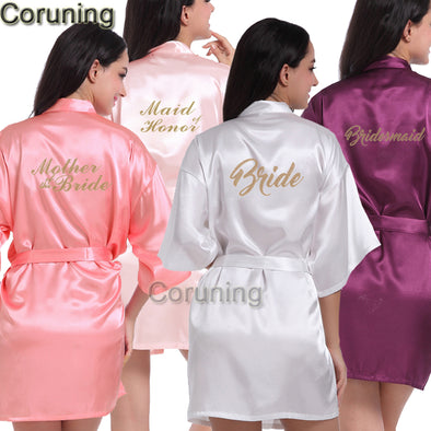 Maid of Honor Letter Golden Glitter Print Kimono Robes