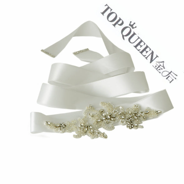 women's Rhinestones Pearls Wedding evening dress sash Belts