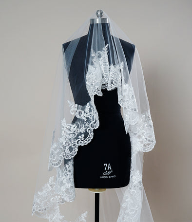 Mantilla White Ivory Ribbon Edge One Layer Bridal Wedding Cathedral Veil