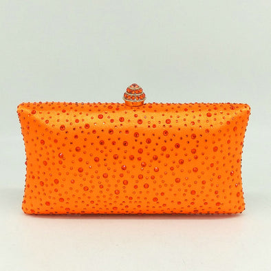 Sparkling Satin Single Strap Bridal/Wedding/ Evening Party Clutch Purse-Orange