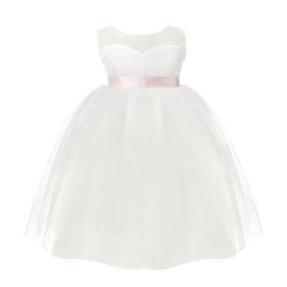 Kids Girls White Backless Flower Girl Dresses Birthday Party Princess Dress Tulle Pageant Dress 2-12