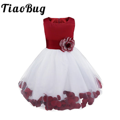 New Flower Petals Dresses Girls Bridesmaid Elegant Dresses