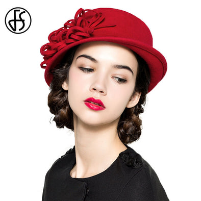 Red Hat Lady Winter Wide Brim Wool Fedora British Style