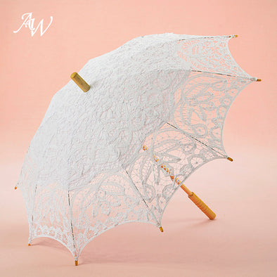 Handmade Battenburg Lace & Cotton Sun Parasol Umbrella for  Bridal Wedding