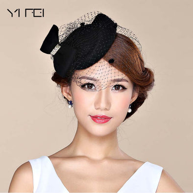 Fascinator Hats for Women Winter Embroidered Veil cotton
