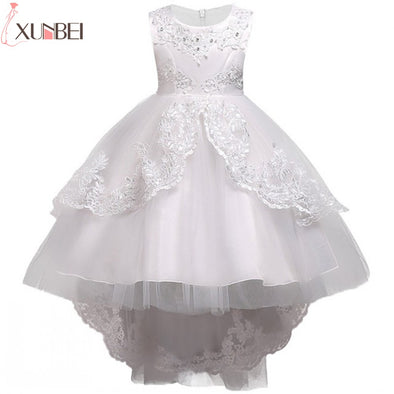Pretty Lace Blue Puffy Flower Girl Dresses