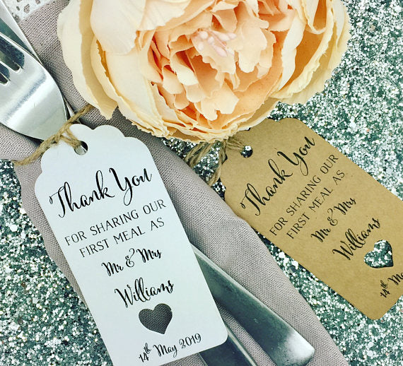 personalized First Meal  wedding welcome thank you Gift Tags