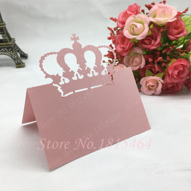 50pcs New Crown Place Name Cards Number Cards Paper Wedding Favor Gift Cards