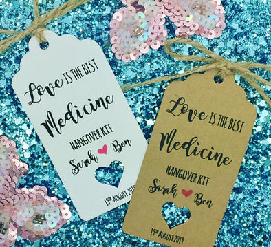 custom names wedding HANGOVER KIT Gift Tags welcome gift y booking Cards