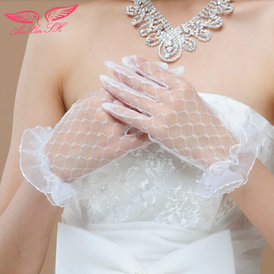 wedding gloves lace short crystal