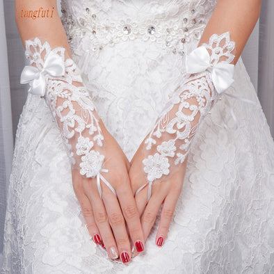 Fingerless Bridal Gloves Satin Bow Lace Up