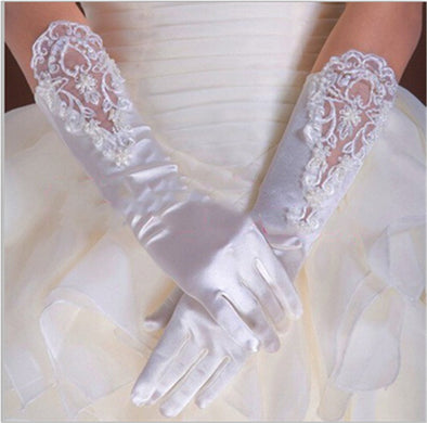 Woman Gloves  with Lace White Fingerless
