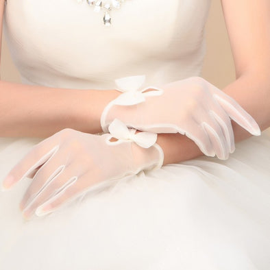 Bridal Wedding Gloves Bride Design Wedding Accessories with Bow =