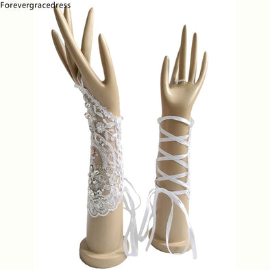 White Ivory Bridal Gloves For Wedding