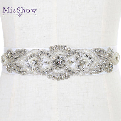 Wedding Belts and Sashes white bridal belts with Crystals