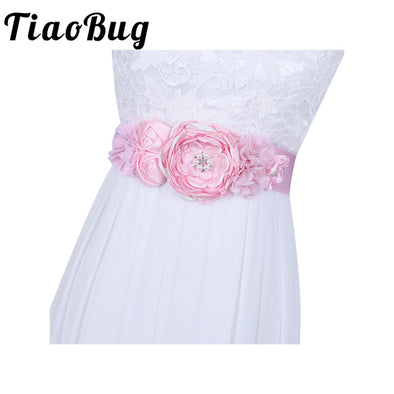 Pink Women Ladies Bridal Bridesmaid 3D Floral Pearl sash Birdesmaid Belt Sash