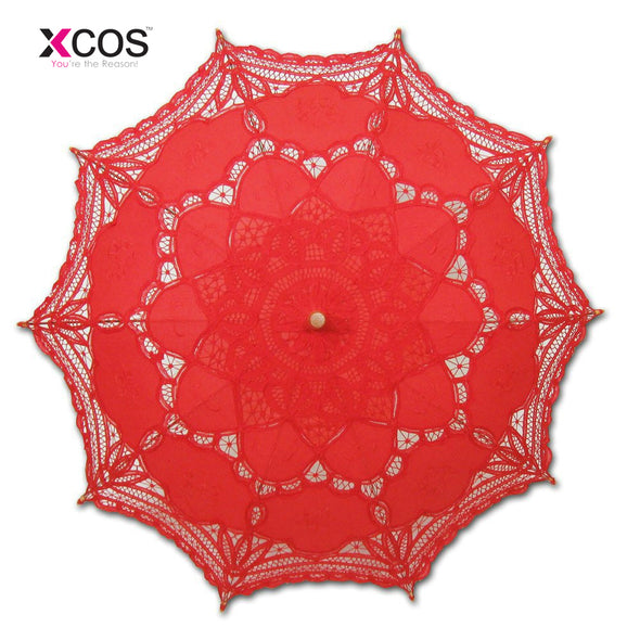 Wedding Umbrella Embroidery Gingham Lace