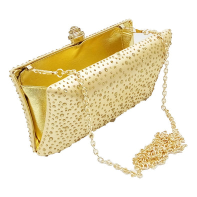 Sparkling Satin Single Strap Bridal/Wedding/ Evening Party Clutch Purse-Gold
